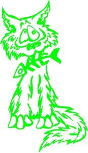 Katze mit Kielfisch grün